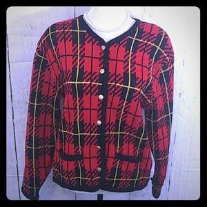 Vintage Tally-Ho Red Black Plaid Cardigan Sweater